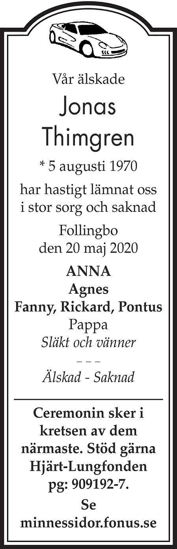 Jonas Thimgren Death notice