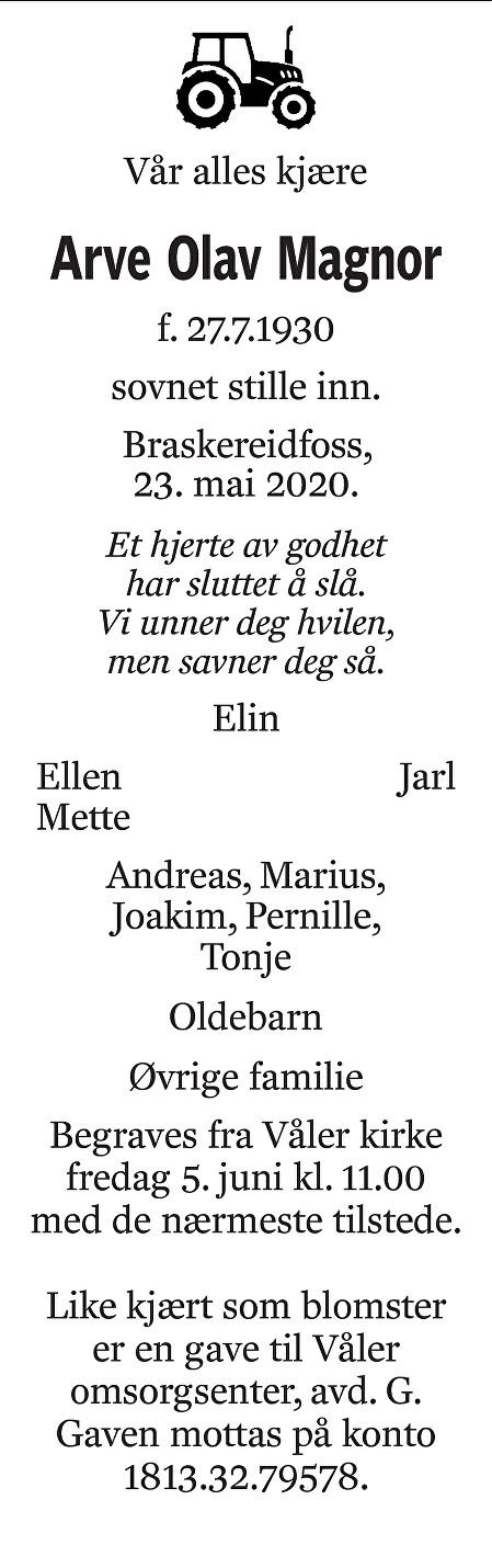 Arve Olav Magnor Dødsannonse