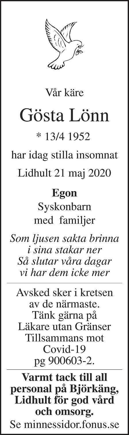 Gösta Lönn Death notice