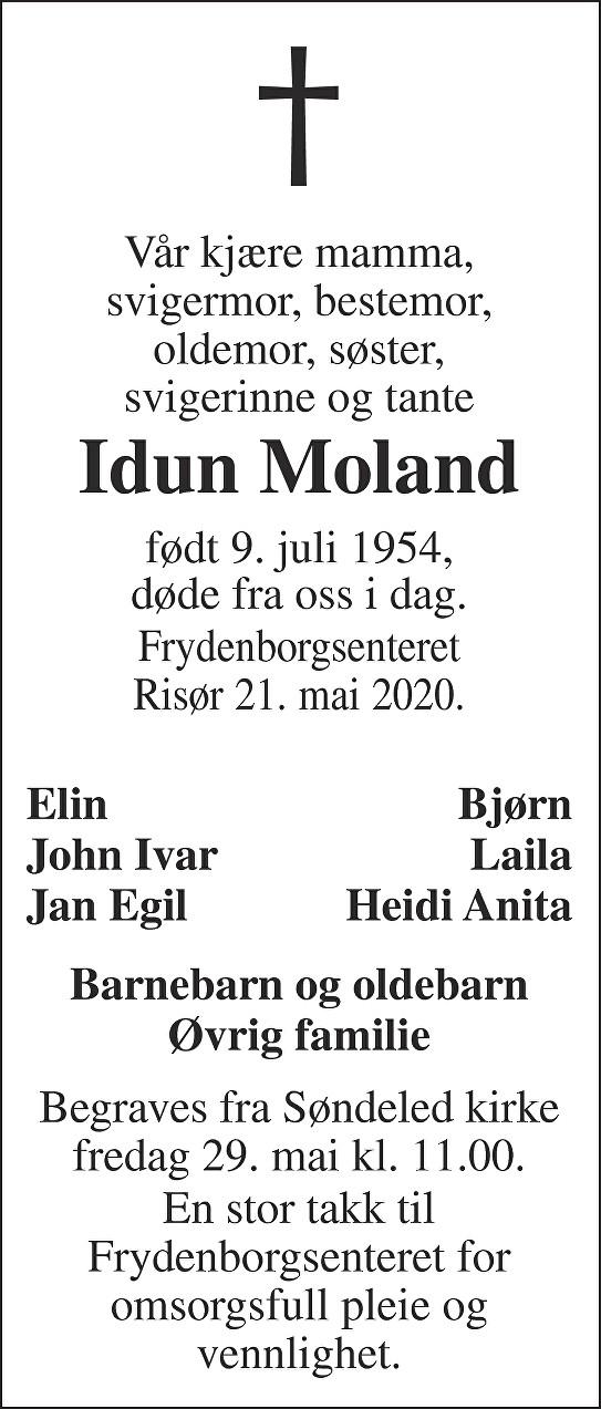 Idun Moland Dødsannonse