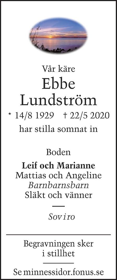 Ebbe Lundström Death notice