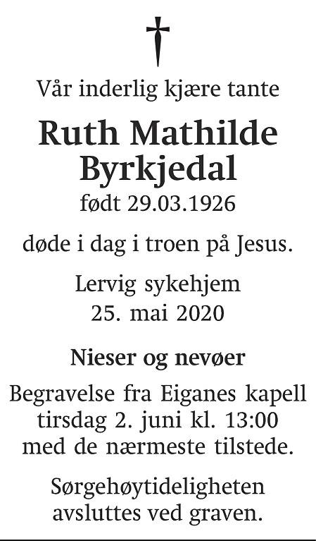 Ruth Mathilde Byrkjedal Dødsannonse