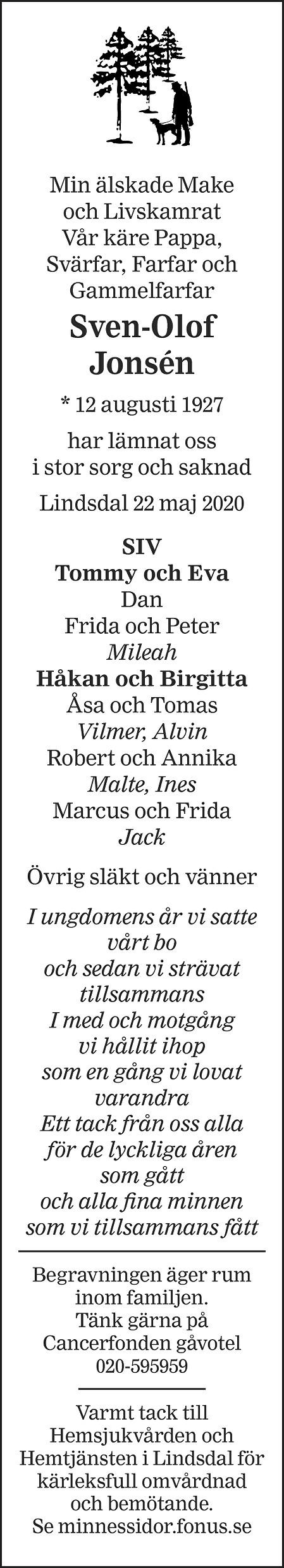 Sven-Olof Jonsén Death notice