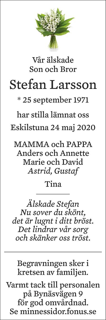 Stefan Larsson Death notice