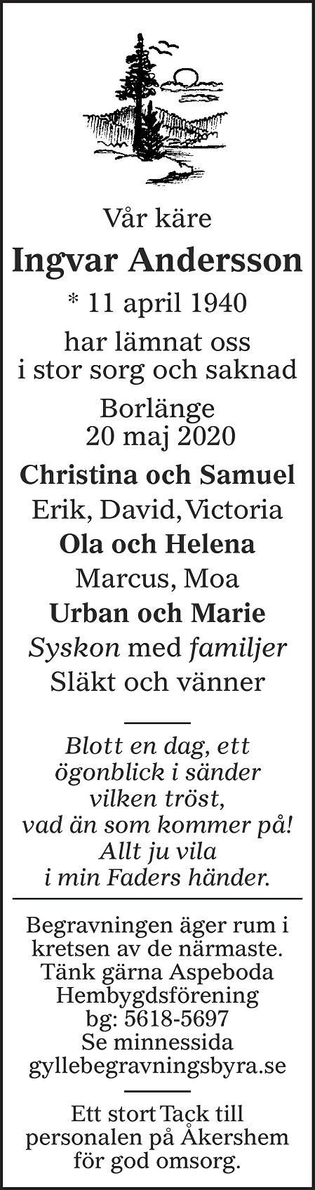 Ingvar Andersson Death notice