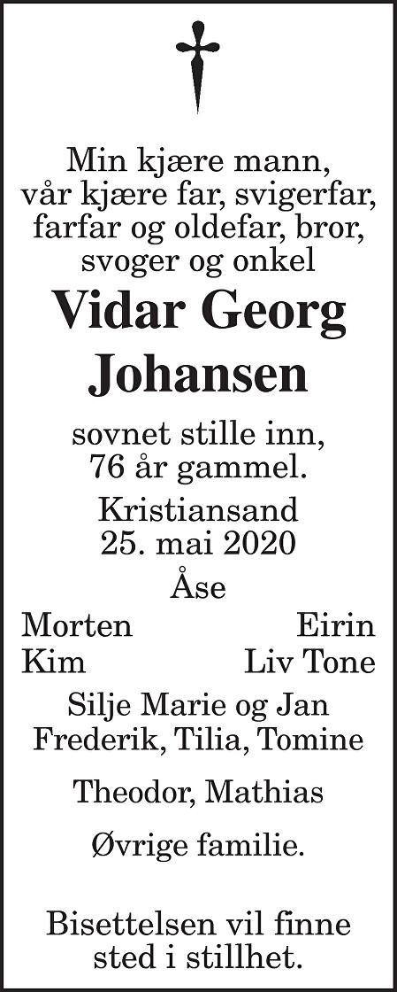 Vidar Georg Johansen Dødsannonse