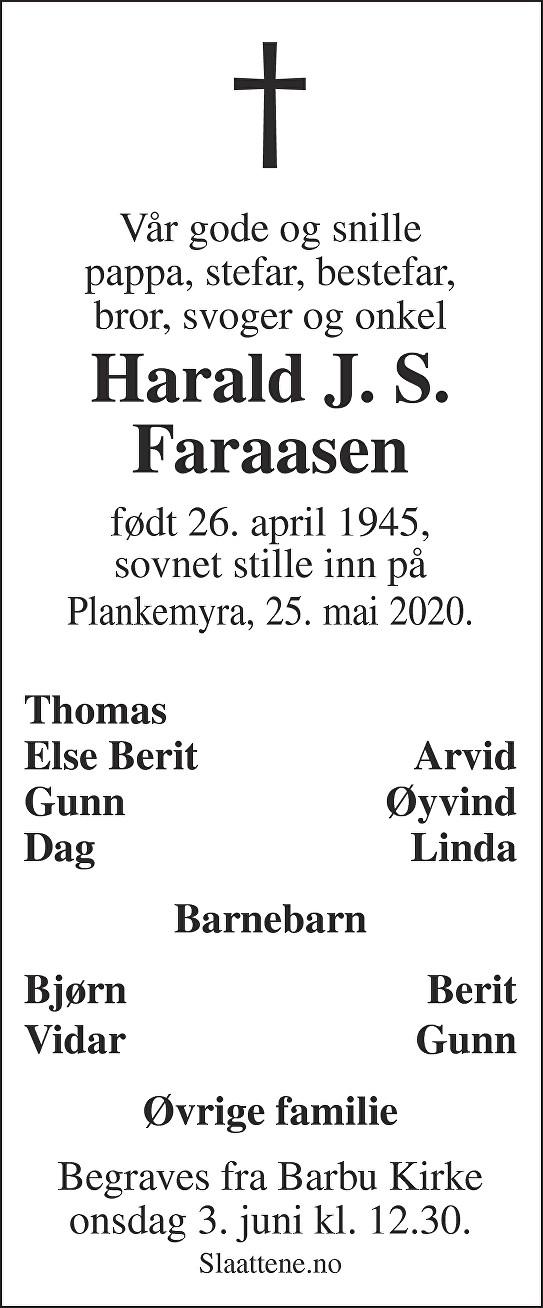 Harald Johannes Steen Faraasen Dødsannonse