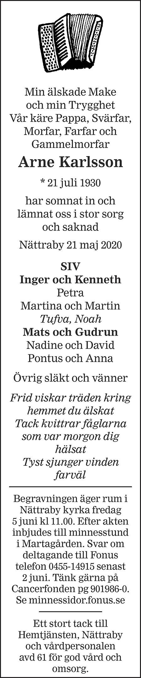 Arne Karlsson Death notice