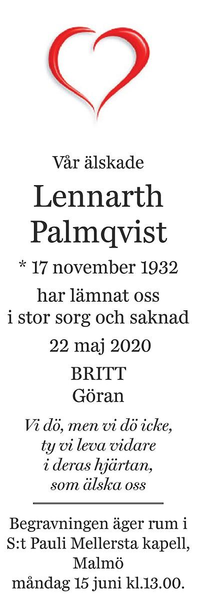Lennarth Palmqvist Death notice