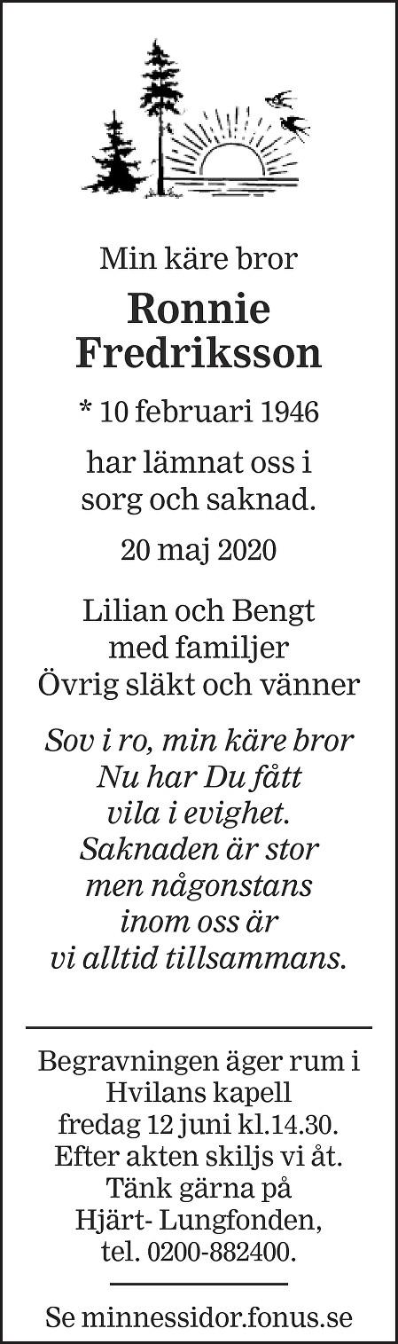Ronnie Fredriksson Death notice