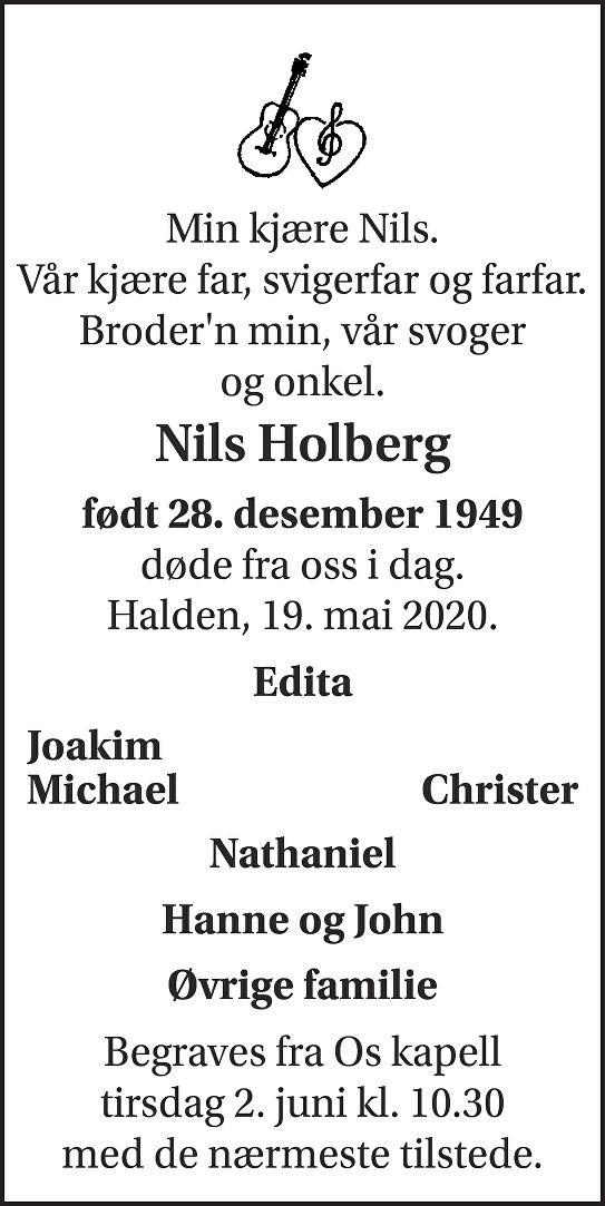 Nils Terje Holberg Dødsannonse