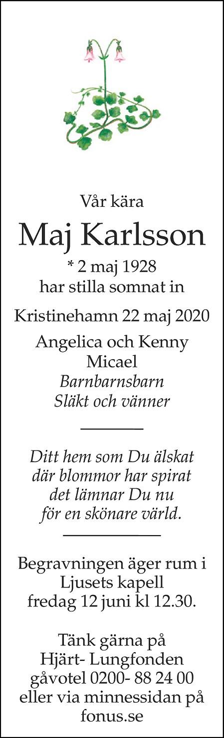 Maj Karlsson Death notice