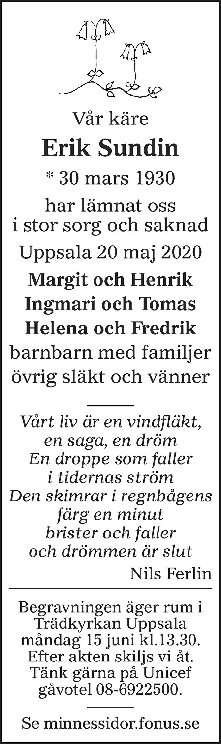 Erik Sundin Death notice