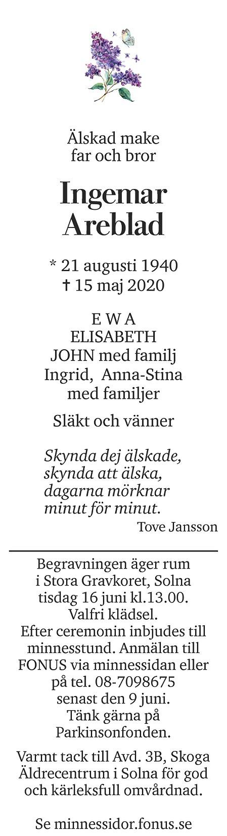 Ingemar Areblad Death notice