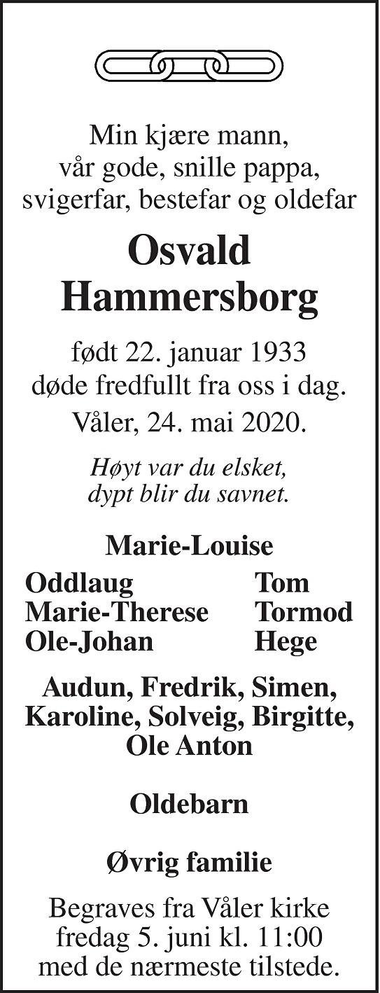 Osvald Hammersborg Dødsannonse
