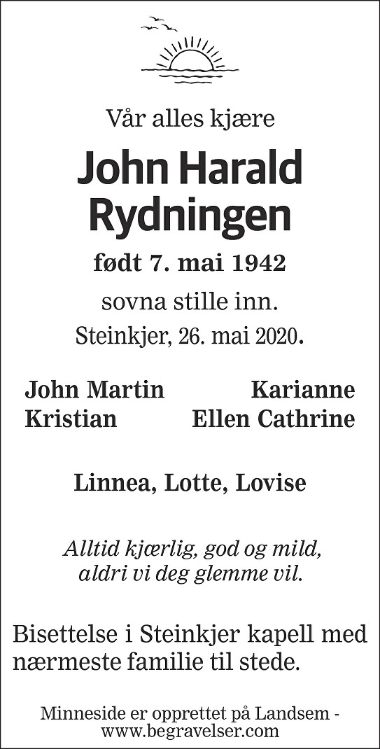 John Harald Rydningen Dødsannonse