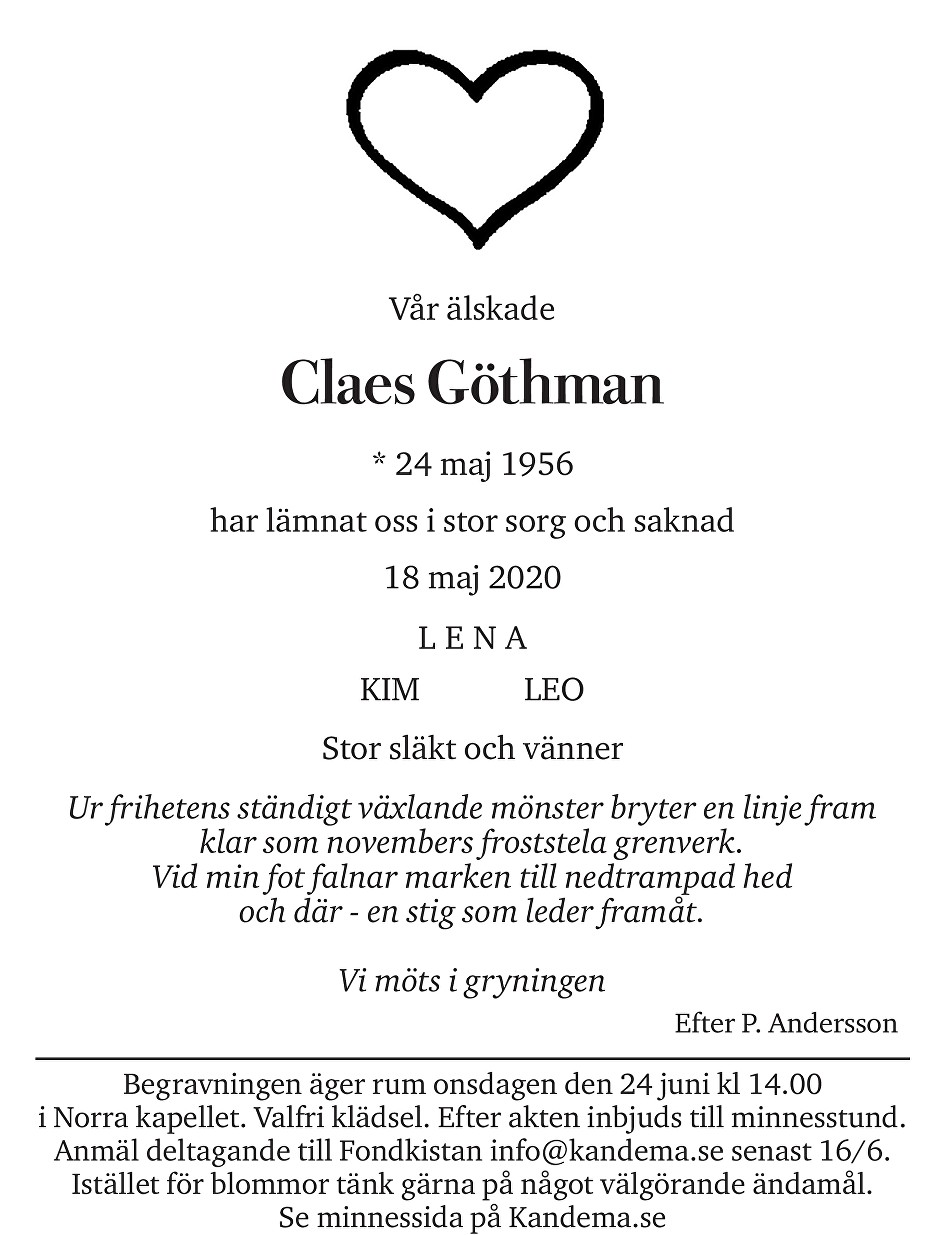 Claes Göthman Death notice