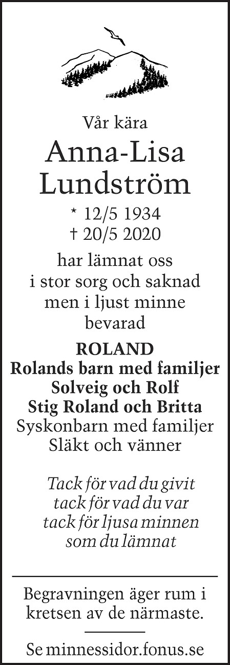 Anna-Lisa Lundström Death notice