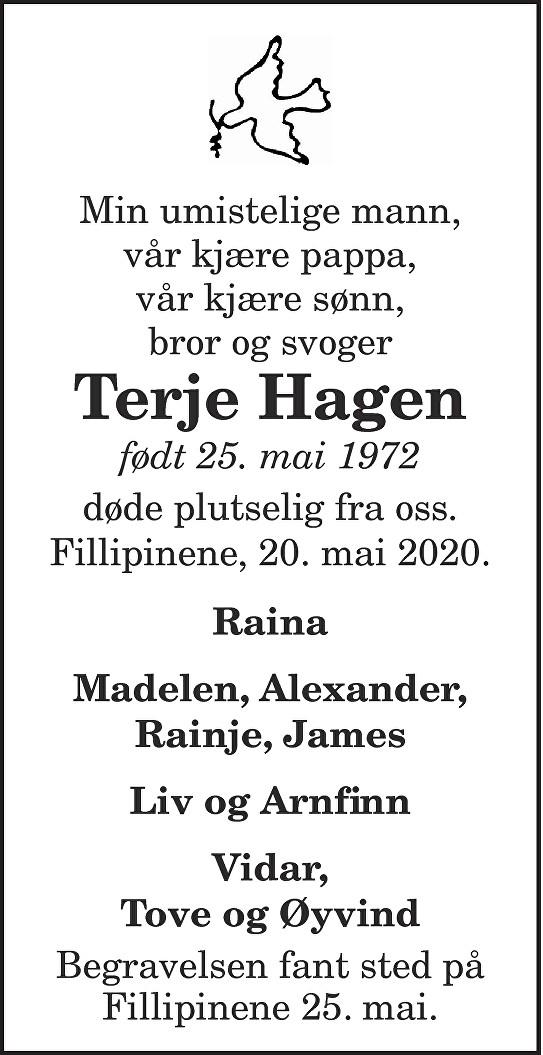 Terje Hagen Dødsannonse