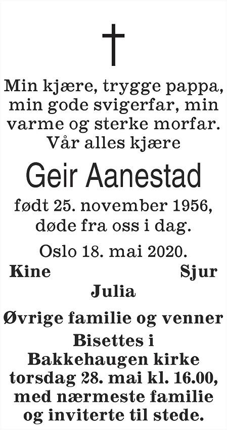 Geir Aanestad Dødsannonse