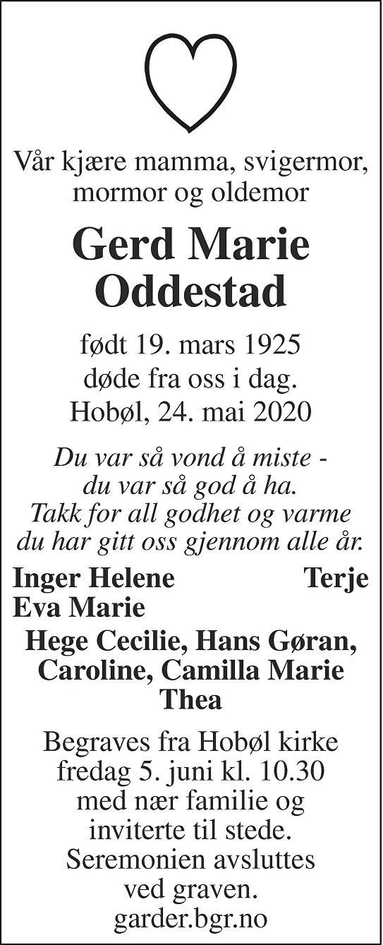 Gerd Marie Oddestad Dødsannonse