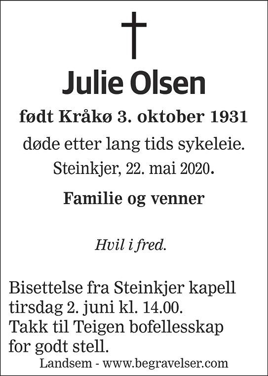 Julie Olsen Dødsannonse