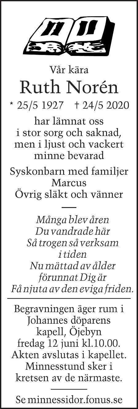 Ruth  Norén Death notice