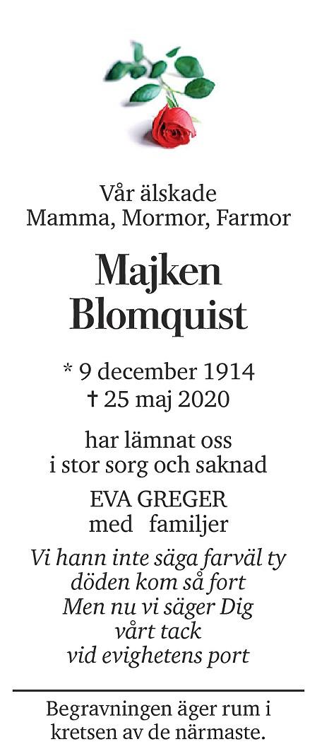 Majken Blomquist Death notice