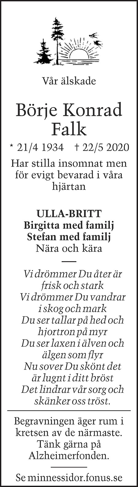 Börje Konrad Falk Death notice