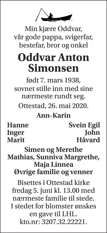 Oddvar Anton Simonsen Dødsannonse