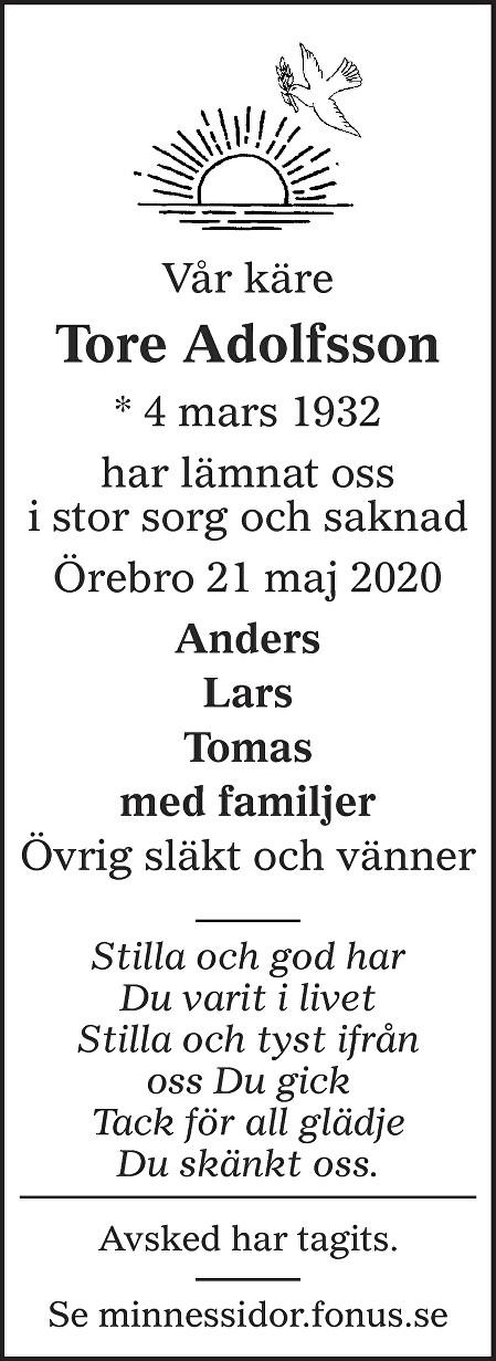 Tore Adolfsson Death notice