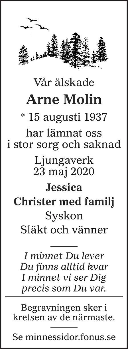 Arne Molin Death notice