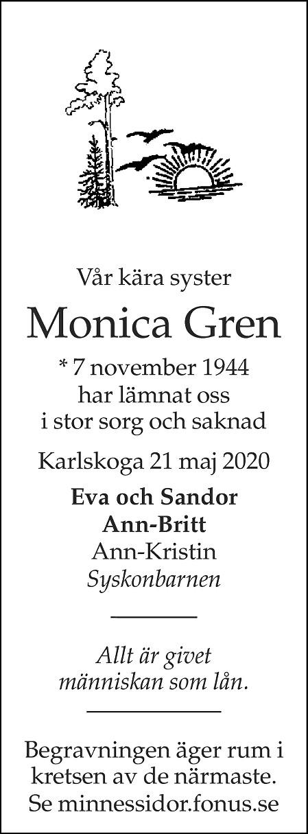 Monica Gren Death notice