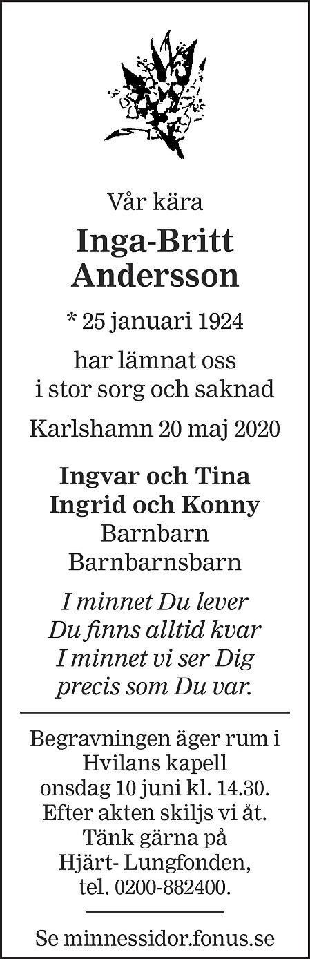 Inga-Britt Andersson Death notice