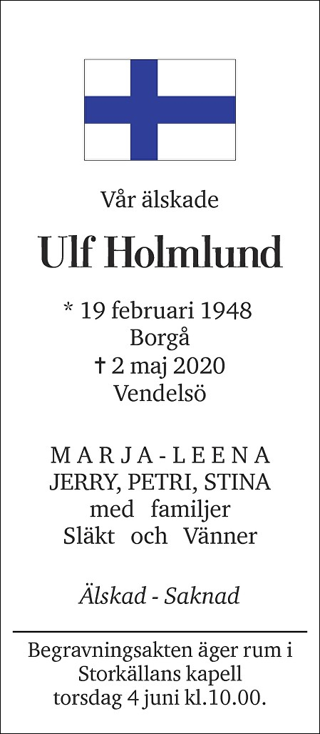 Ulf Holmlund Death notice