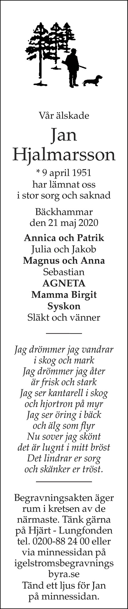 Jan Hjalmarsson Death notice