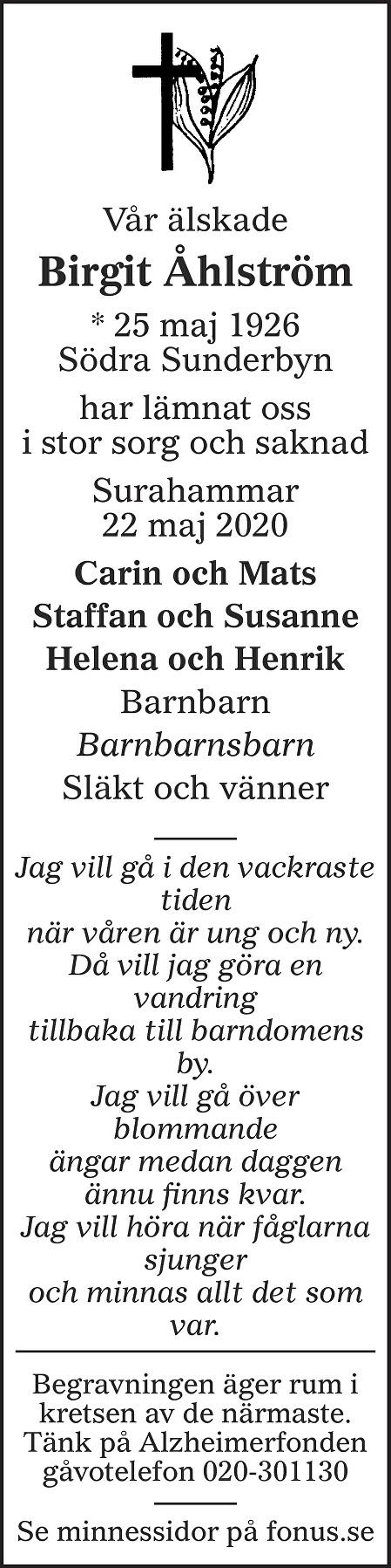 Birgit Åhlström Death notice