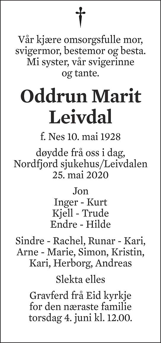 Oddrun Marit Leivdal Dødsannonse