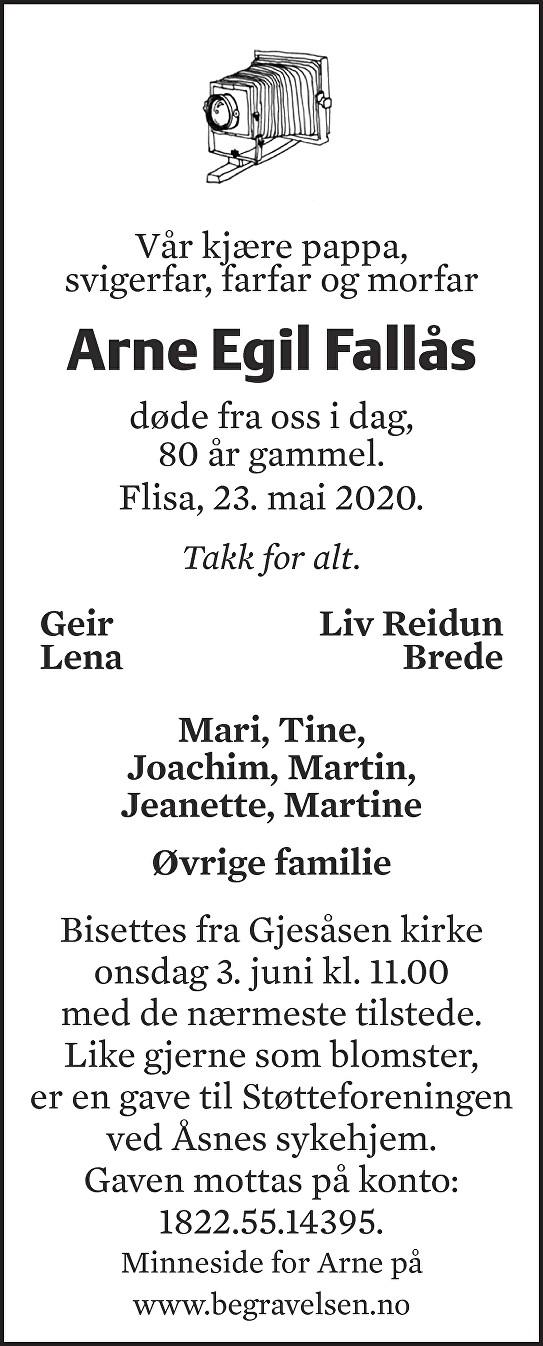 Arne Egil Fallås Dødsannonse