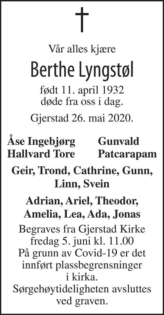 Berthe Lyngstøl Dødsannonse