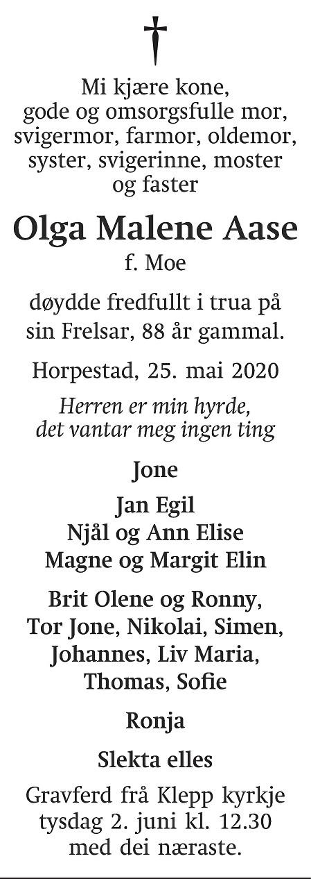Olga Malene Aase Dødsannonse