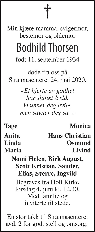 Bodhild Thorsen Dødsannonse