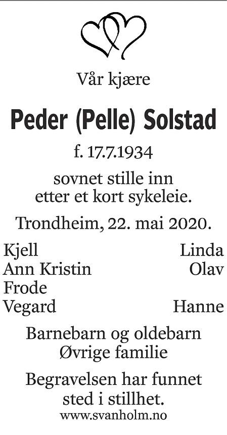 Peder  Solstad Dødsannonse
