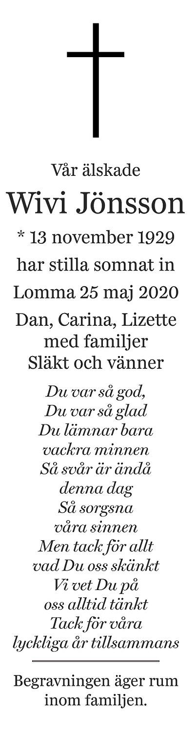 Wivi Jönsson Death notice