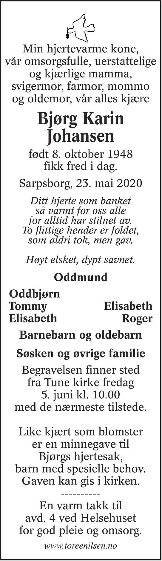 Bjørg Karin Johansen Dødsannonse