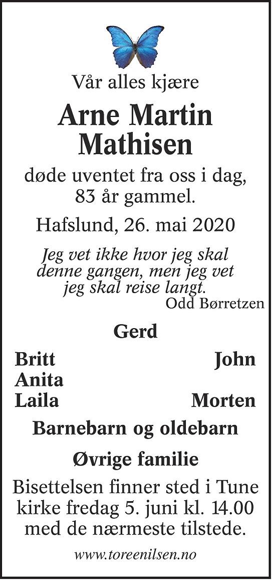 Arne Martin Mathisen Dødsannonse