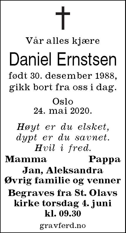 Daniel Ernstsen Dødsannonse