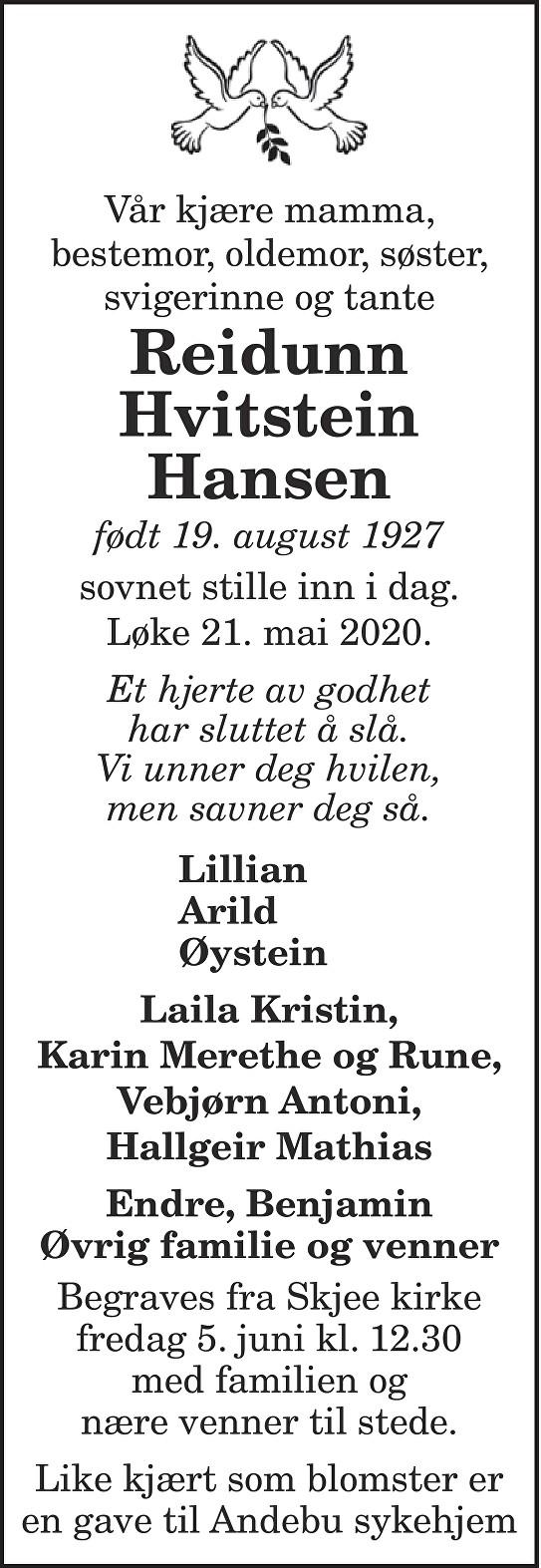 Reidunn Hvitstein Hansen Dødsannonse