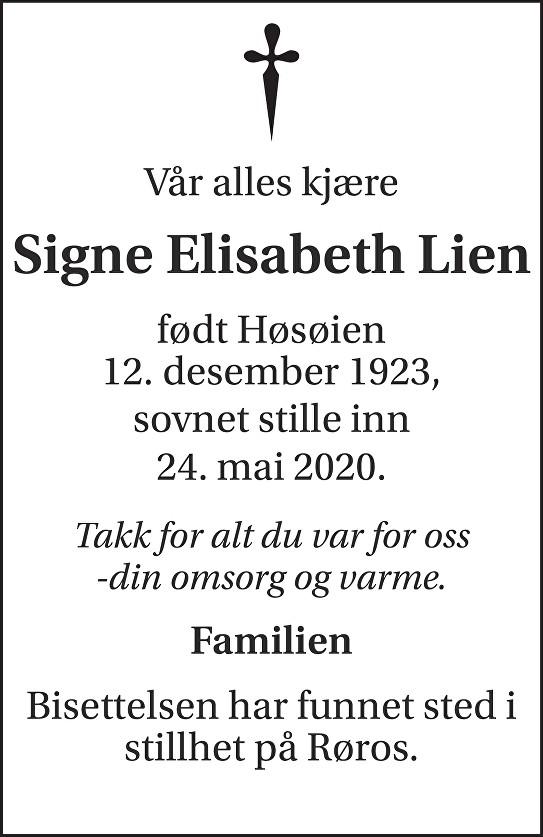 Signe Elisabeth  Lien Dødsannonse