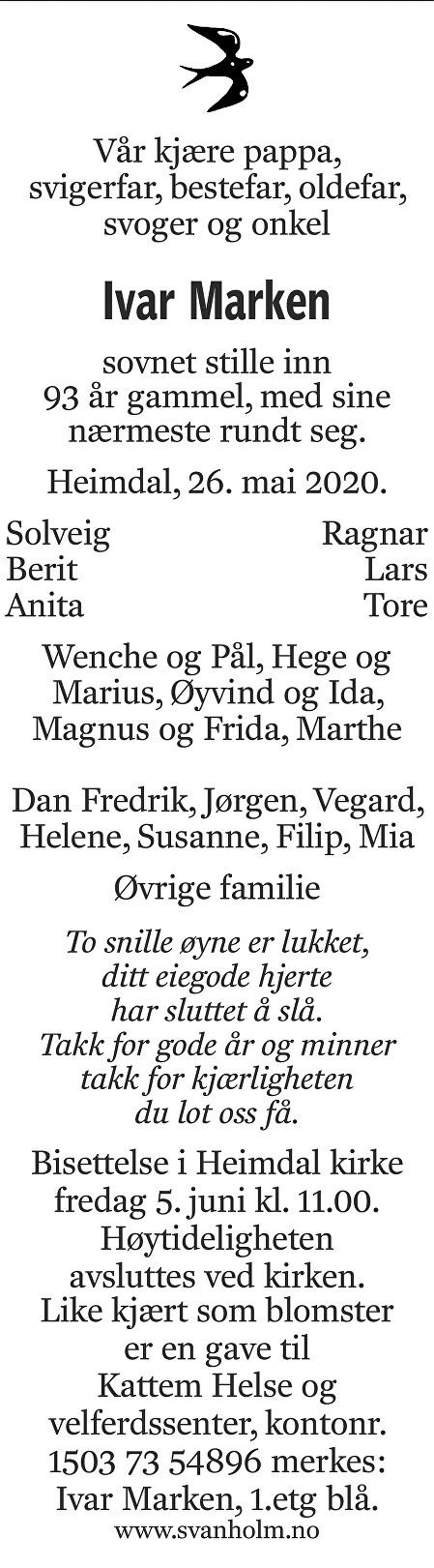 Ivar Marken Dødsannonse
